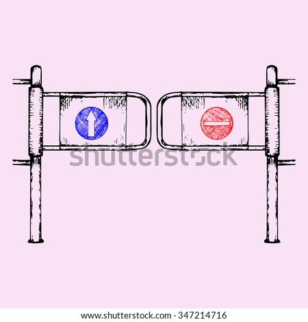 entrance gate in a mall or mart, doodle style, sketch illustration, hand drawn, raster - stock photo