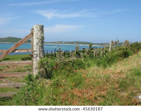 Entrance Gate to beach - stock photo