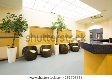 Entrance hall to modern exclusive spa resort - stock photo