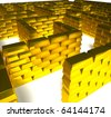 Entrance in labyrinth from gold ingots - stock photo