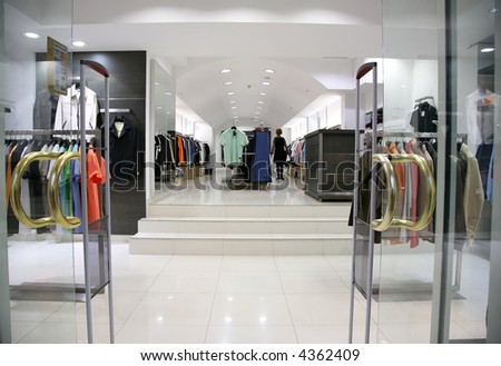 Entrance in the clothes department - stock photo