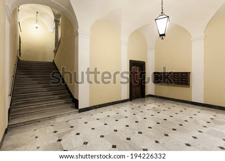 entrance of a beautiful historic building - stock photo