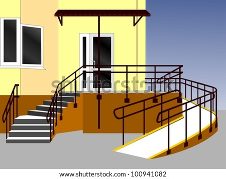 Entrance of a house. Illustration
