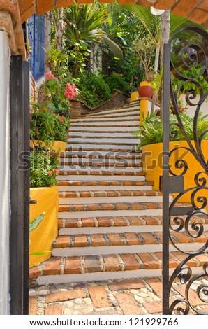 Entrance of a house in Puerto Vallarta, Mexico. - stock photo
