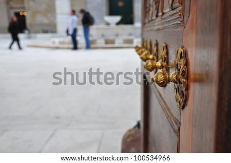 entrance of a palace - stock photo