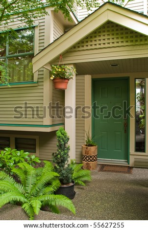 Entrance of a townhouse in North Vancouver, Canada. - stock photo