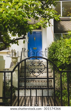 Entrance of a typical London house - stock photo