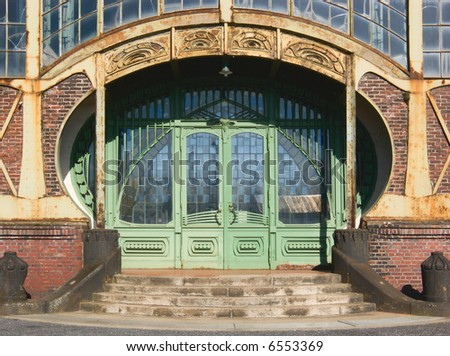 "Entrance of an Art Nouveau Machine Shop of a Coal Mine ""Zeche Zollern"", Dortmund, Germany - stock photo"