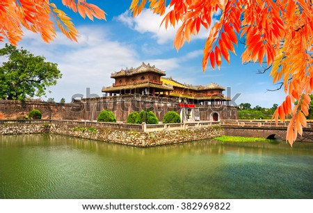 Entrance of Citadel, Hue, Vietnam. Unesco World Heritage Site.  - stock photo
