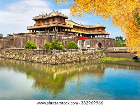 Entrance of Citadel, Hue, Vietnam. Unesco World Heritage Site.  - stock photo