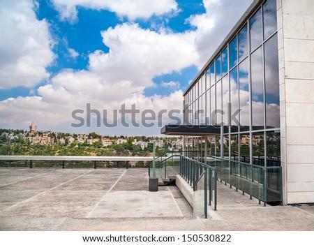 Entrance of Israeli museum building, Jerusalem, Israel - stock photo