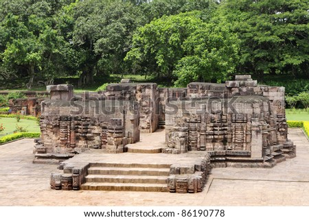 Entrance of Mayadevi temple from the II level porch of Sun temple complex - stock photo