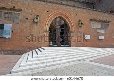 """Entrance of """"Palazzo del Podesta"""", Maggiore square, Bologna. Italy. - stock photo"""