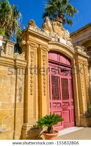 Entrance of Palazzo Vilhena in Mdina, Malta. - stock photo