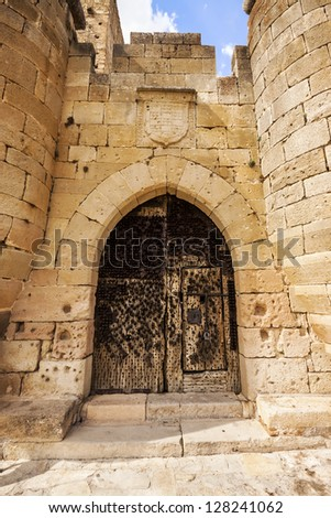 Entrance of Pedraza Castle in Segovia, Castilla y Leon, Spain. Was constructed between the 14th and 16th centuries. - stock photo