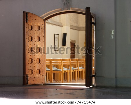 Entrance of small chapel as part of the St. Stevens-church in Nijmegen. - stock photo