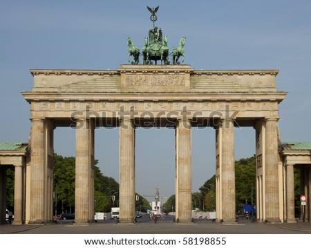 Entrance of the famous street unter den linden in berlin, germany, marked by the brandenburger tor - stock photo