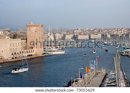 Entrance of the marina  of Marseille (Vieux-Port). - stock photo