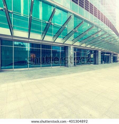 Entrance of the modern business city office building. - stock photo