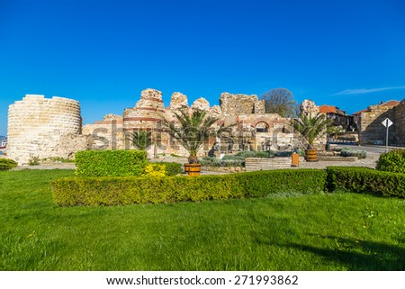 Entrance of the old town of Nessebar - stock photo