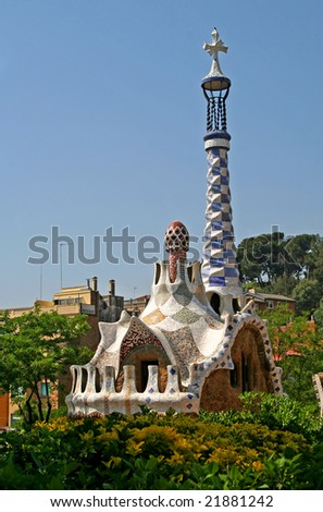 Entrance Pavilions of the Parc Guell, at Barcelona, Spain