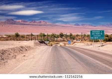 entrance road to San Pedro de Atacama, desert Atacama, Chile - stock photo