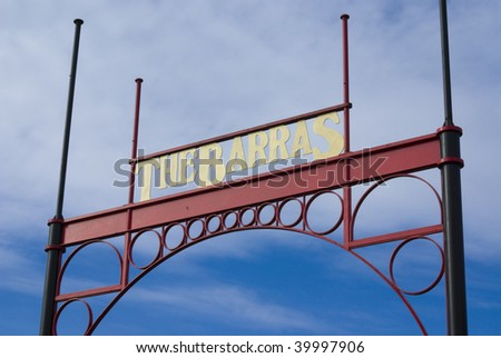 Entrance sign for Barras flea market in Glasgow, Scotland, UK, Europe