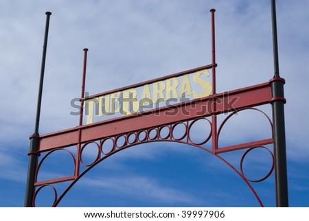 Entrance sign for Barras flea market in Glasgow, Scotland, UK, Europe - stock photo