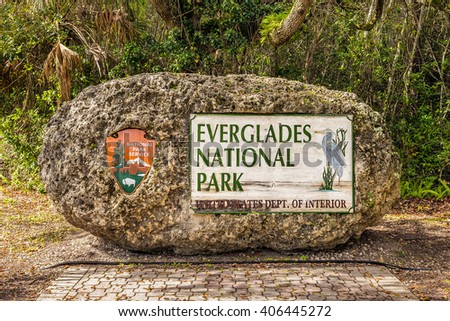Entrance Sign in the Everglades National Park, Florida - stock photo