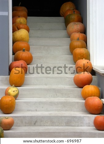 Entrance stairs decorated with pumpkins 1106_14 - stock photo