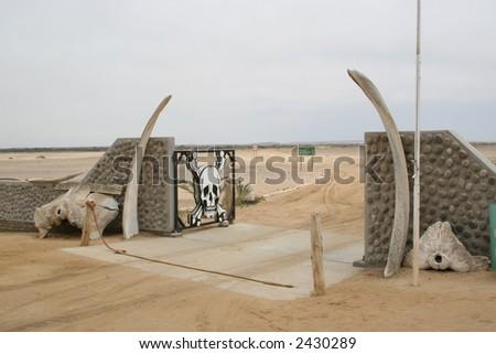 Entrance Station Skeleton Coast National Park, Namibia. - stock photo