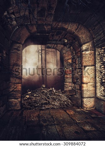 Entrance to an old crypt in the woods with a pile of bones and skulls
