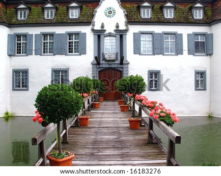 Entrance to Bottmingen Castle, near Basel, Switzerland - stock photo