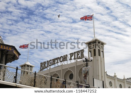Entrance to Brighton Pier. East Sussex. England - stock photo