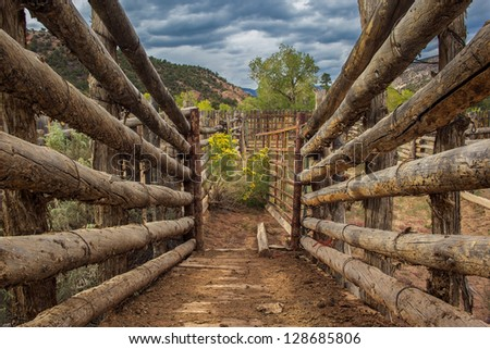 Entrance to corral, Grand Staircase Escalante National Monument, Utah - stock photo