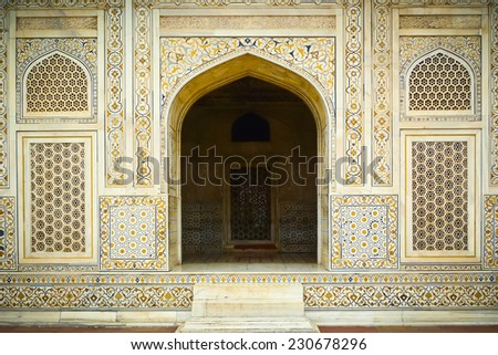 Entrance to Itimad Ud Daulah's tomb in Agra, Uttar Pradesh, India. Also known as the Jewel Box or the Baby Taj. - stock photo