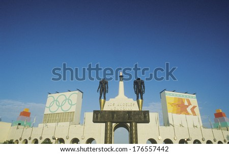 Entrance to Los Angeles Memorial Coliseum, Los Angeles, California - stock photo