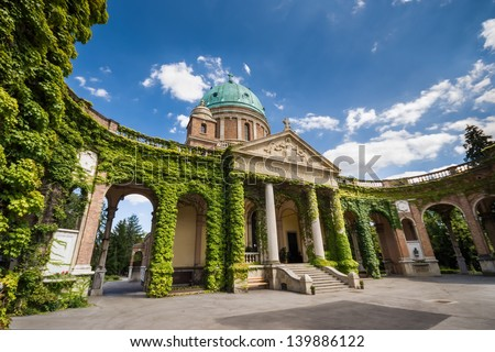 Entrance to Mirogoj cemetery with Church of King Christ in Zagreb, Croatia - stock photo
