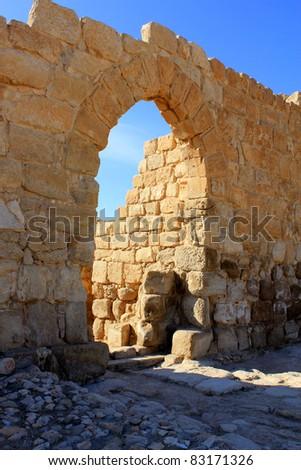 Entrance to monastery in Judean desert, Mishor Adummim, Israel - stock photo