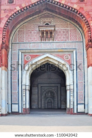 "Entrance to Qila-i-Kuhna Mosque at Qila-i-Kuhna Mosque ""Purana Qila"" or Old Fort Delhi India"