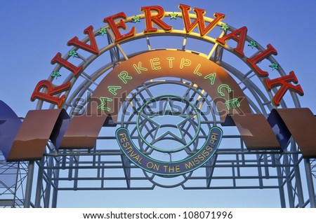 Entrance to Riverwalk Marketplace, New Orleans, Louisiana - stock photo