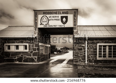 Entrance to Robben Island (South Africa) Prison where Nelson Mandela was held captive - stock photo