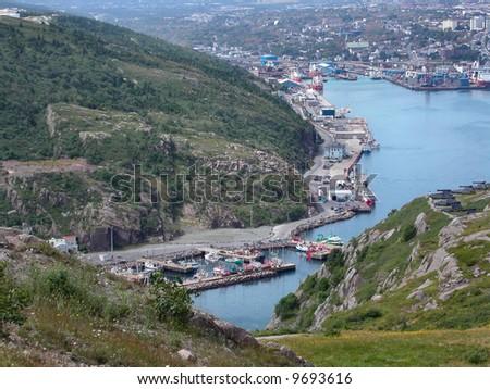 Entrance to St John's Harbour. Newfoundland.  Canada. - stock photo