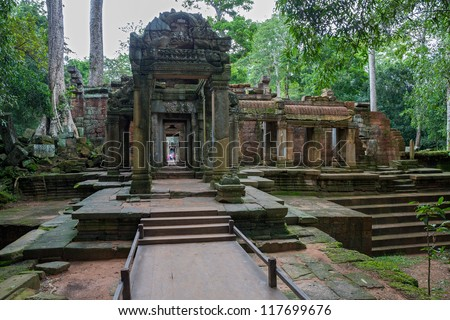 Entrance to Ta Prohm temple in Angkor Wat (Siem Reap, Cambodia).