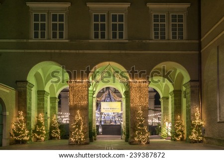 entrance to the christmas market - stock photo