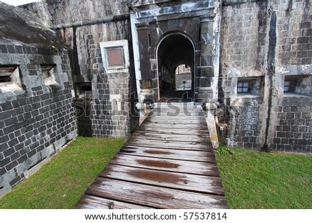 Entrance to the Citadel at Brimstone Hill Fortress - Saint Kitts - stock photo