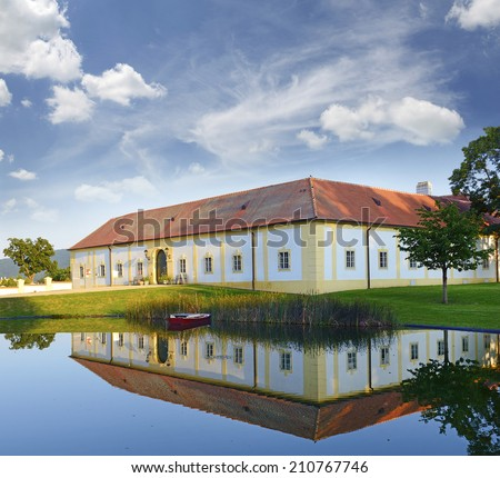 Entrance to the complex Hof Castle. The baroque work of art that is Hof Castle covers more tham 50 hectares. Schlosshof is largest country castle grounds in Austria - stock photo