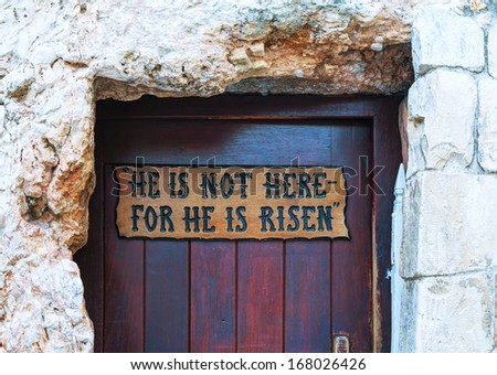 Entrance to the Garden Tomb in Jerusalem, Israel - stock photo