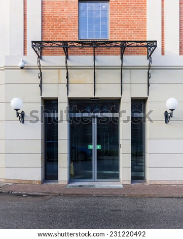 Entrance to the hotel with sliding doors - stock photo