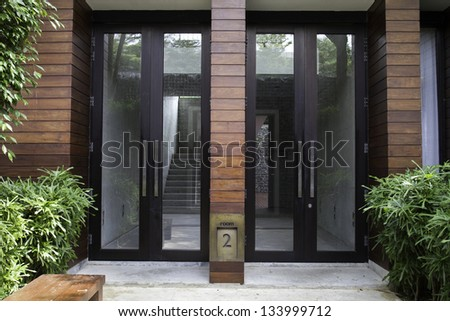 Entrance to the modern house - stock photo